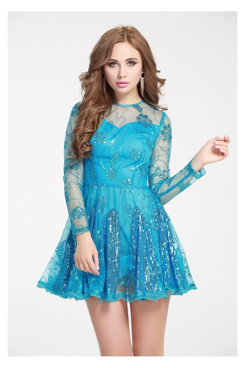 Blue Sequined Embroidery Fit And Flare Short Dress 61