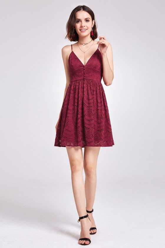 Burgundy Sleeveless Lace Babydoll Dress