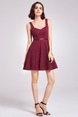 Burgundy Short Lace Fit and...