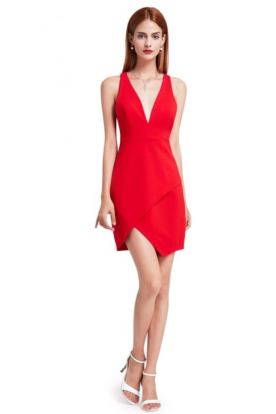 Sexy Red Fitted Cocktail Dress with Deep V Neck