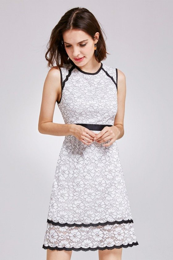 Sleeveless Lace Black and White Wear to Work Dress