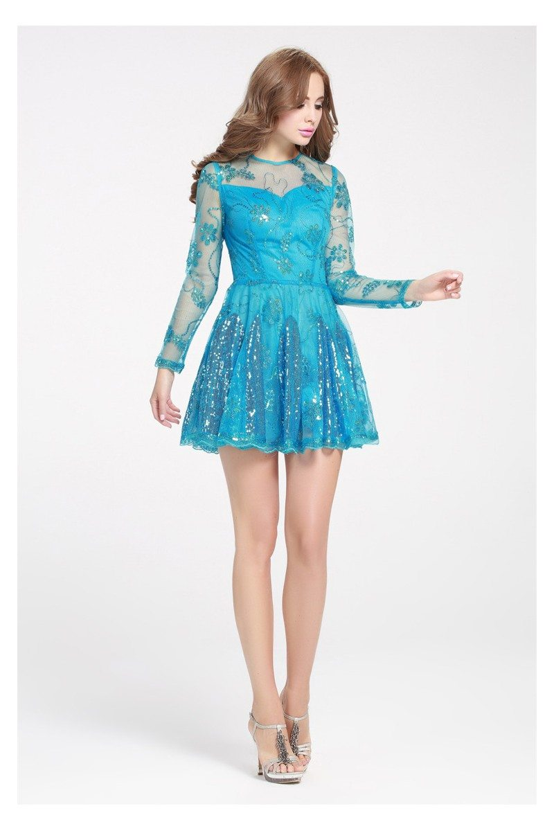 Blue Sequined Embroidery Fit And Flare Short Dress - $61 #DK248 ...