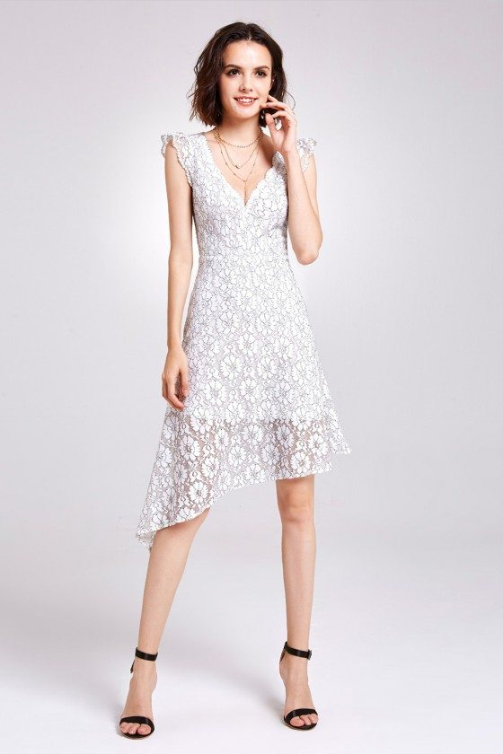 Gorgeous White V Neck Lace Casual Party Dress