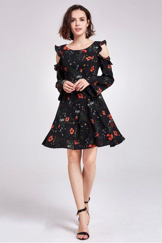 Short Floral Print Cold Shoulder Casual Dress