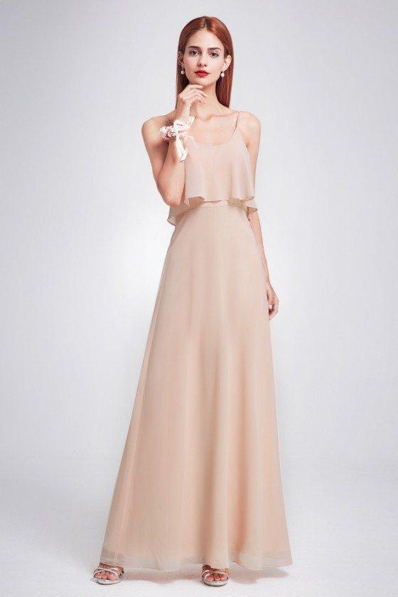 Blush Ruffle Spaghetti Strap Bridesmaid Dress