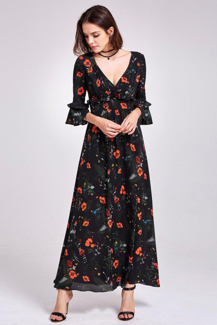Classy Long Sleeve Floral Print Maxi Dress 48