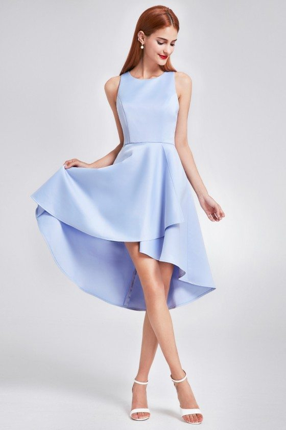 Blue Sleeveless High Low Cocktail Party Dress