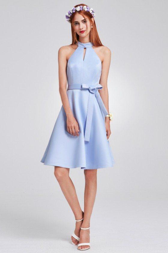 Blue Knee Length Short Halter Bridesmaid Dress