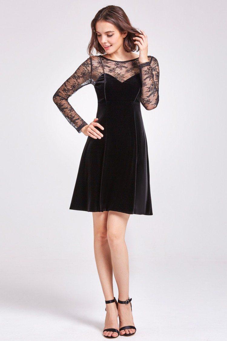 Black Long Lace Sleeve Velvet Party Dress 45 As05898bk