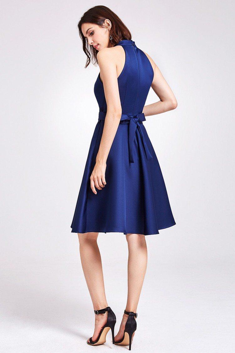 Navy blue knee length short halter bridesmaid dress 59 navy blue knee length short halter bridesmaid dress ombrellifo Gallery