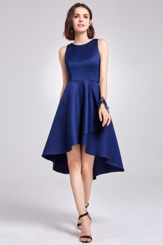 Navy Blue Sleeveless High Low Cocktail Party Dress