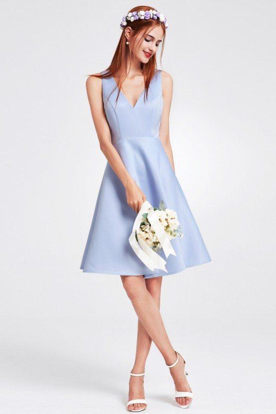 Blue Short V Neck Satin Bridesmaid Dress