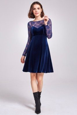 Blue Long Lace Sleeve...