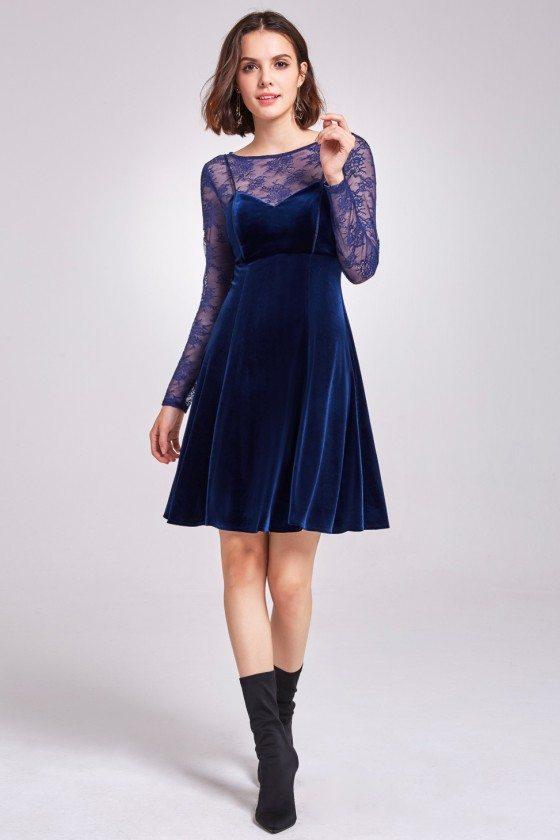 Blue Long Lace Sleeve Velvet Party Dress