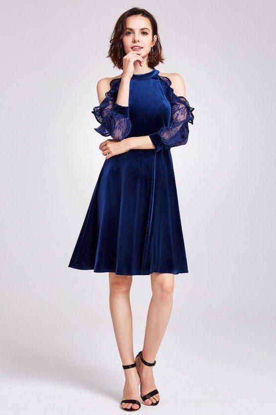 Blue Cold Shoulder Velvet Short Party Dress