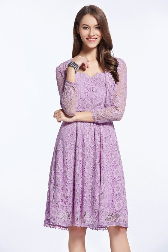 Simple Lilac Lace Little Prom Dress with Jacket