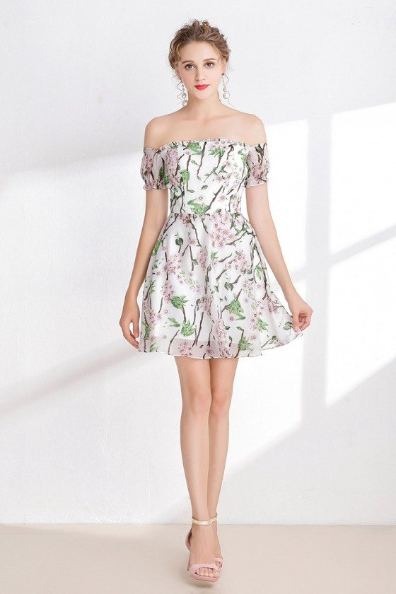 Little Printed Floral Short Homecoming Dress with Off Shoulder Sleeves