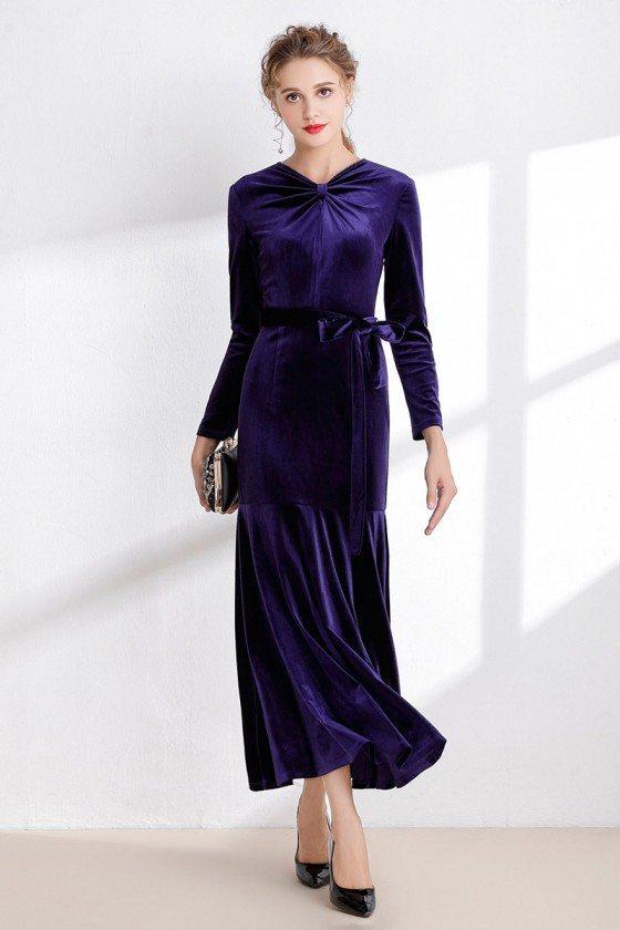 Purple Tea Length Velvet Winter Dress with Sleeves