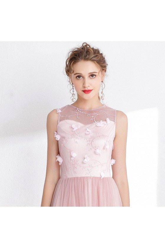 Blush Pink Tulle Floral Prom Dress with Sheer Back - $99 #CK993 ...