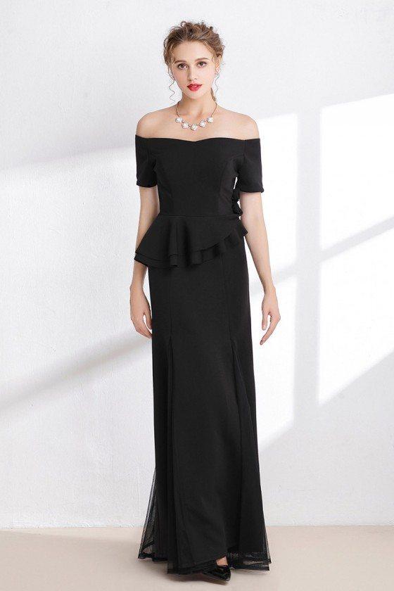 Black Velvet Tulle Off the Shoulder Prom Dress