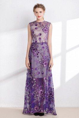 Purple Sleeveless Long Prom...