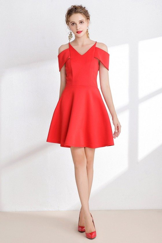 Simple Hot Red Satin Short Prom Dress