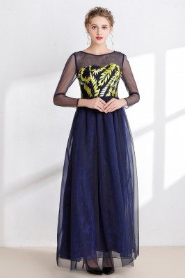 Dark Blue Long Tulle Prom...