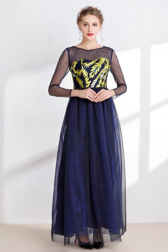 Dark Blue Long Tulle Prom Dress with Yellow Bodice