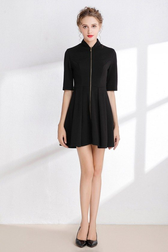 Little Black Cocktail Satin Dress with 1/2 Sleeves