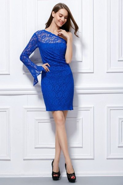 Lace One Long Sleeve Bodycon Short Dress