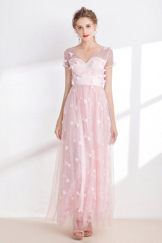 Blush Pink Tulle Sweetheart Prom Dress with Floral