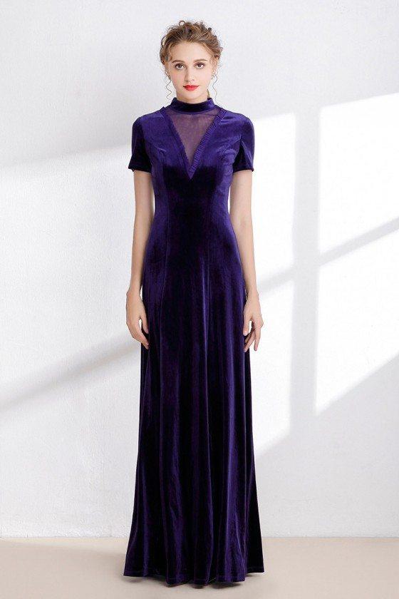 Modest Long Purple Winter Velvet Dress with Short Sleeves
