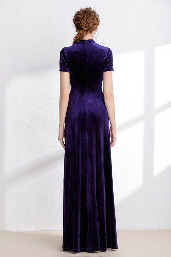 Modest Long Purple Winter Velvet Dress With Short Sleeves 127