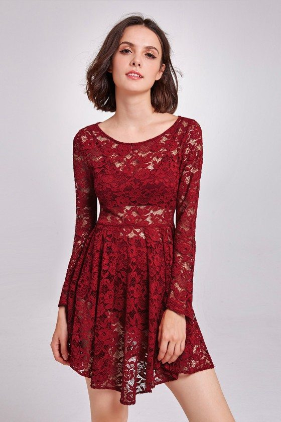 Burgundy Sheer Lace Layering Cocktail Prom Dress with Long Sleeves