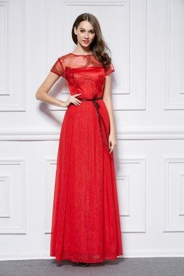 Red Sequin Tulle Neckline Long Party Dress
