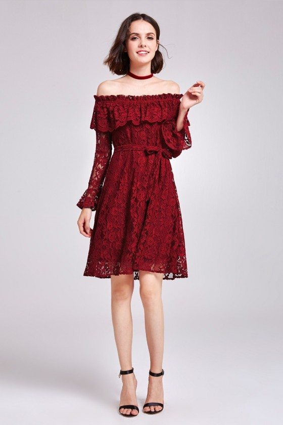 Burgundy All Lace Off Shoulder Short Party Dress with Long Sleeves