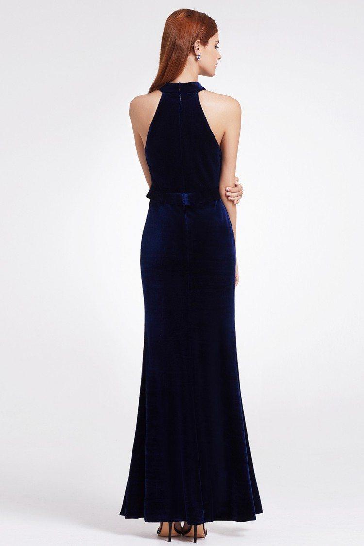 Dark Blue Sexy High Collar Velvet Winter Formal Gown With Deep V