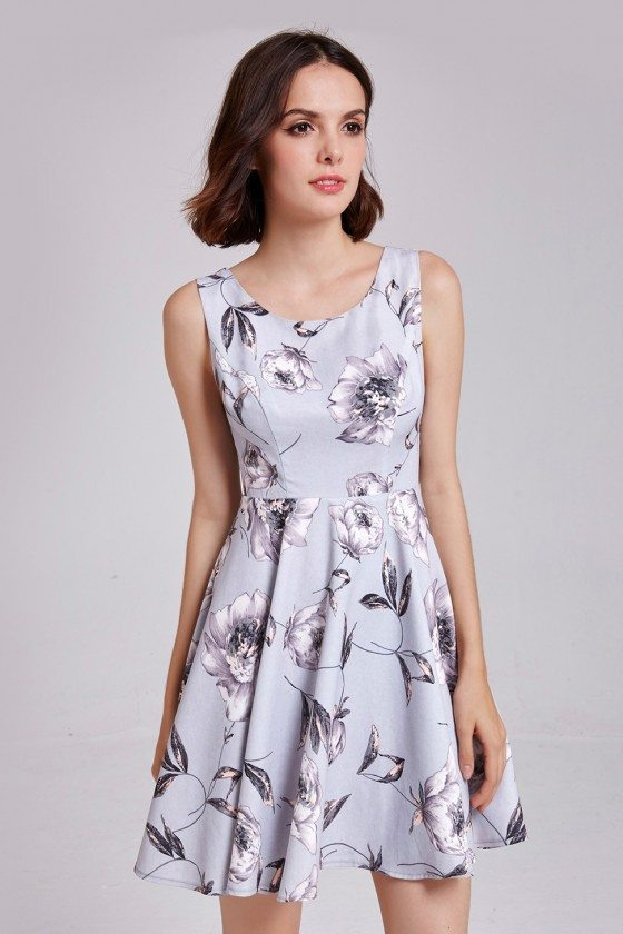 Little Grey Floral Print Round Neck Sleeveless Cocktail Prom Dress