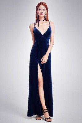 Dark Blue Long Velvet...