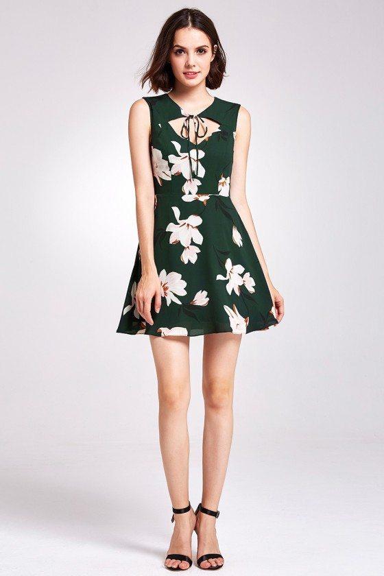 Unique Green Floral Print Chiffon Cocktail Prom Dress