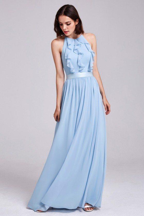 Light Blue Halter Ruffles Chiffon Bridesmaids Dresses Adjustable