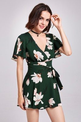 Dark Green Floral Printed...