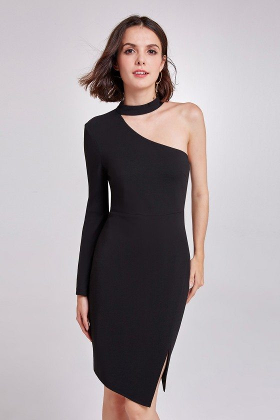 Black Asymmetrical Slit Short Casual Dress In One Shoulder