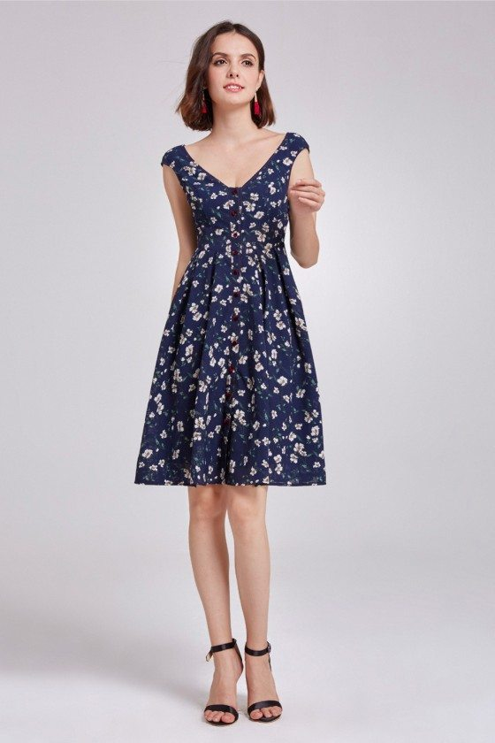 Fashion Short Sleeves Printed Sweetheart Casual Dress