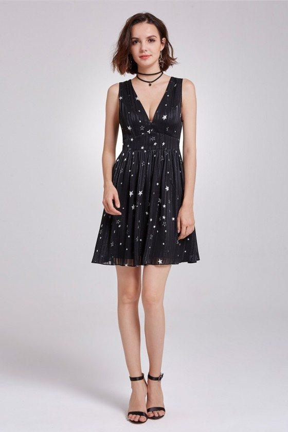 Black Sexy V-Neck Short Printed Star Casual Dress