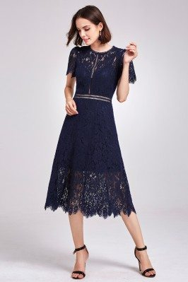 Navy Blue All Lace Hollow...