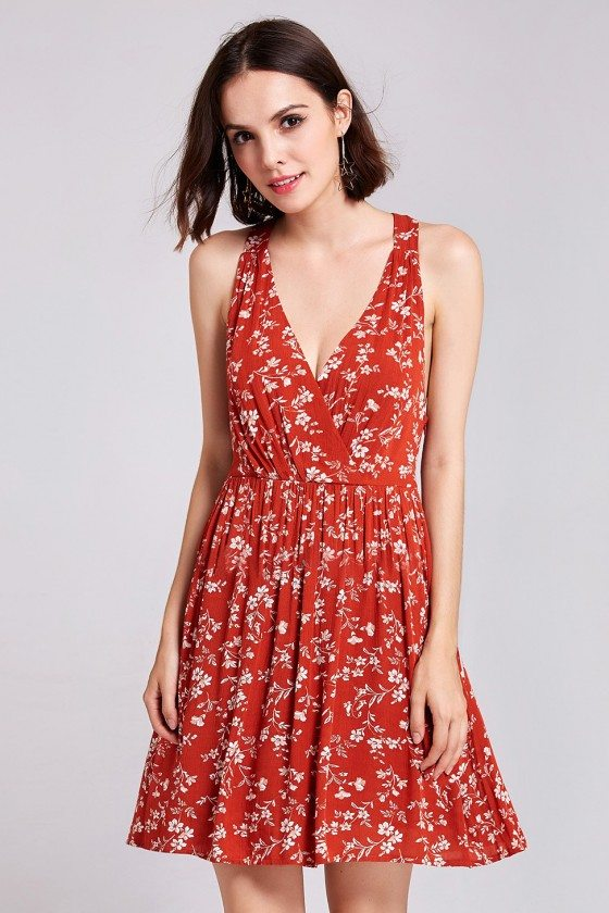 Women's Sexy Floral Print V-Neck Short Casual Dress