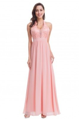 Pretty Pink V Neck Halter...