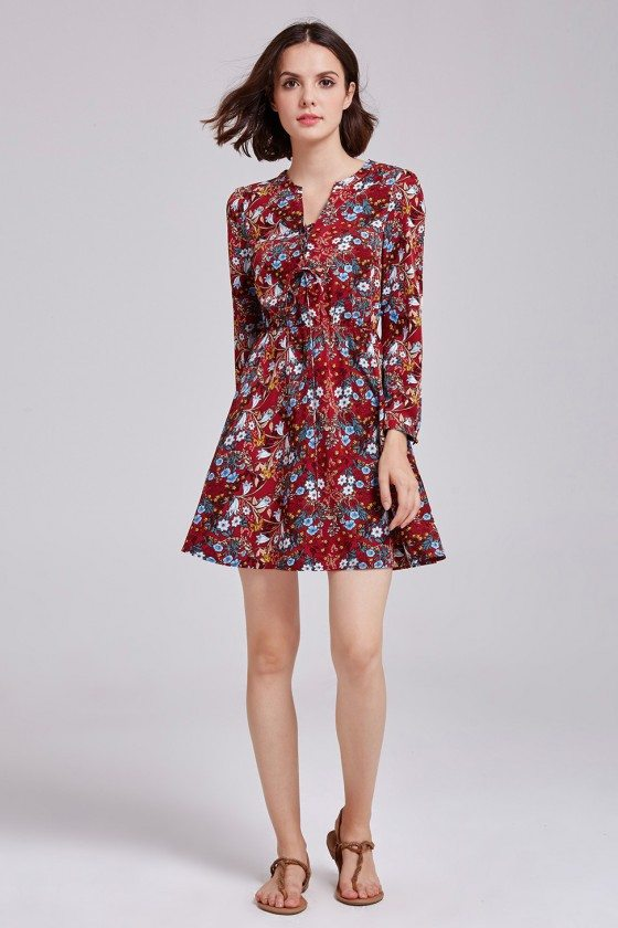 Women's Printed Floral Lace-up Long Sleeve Casual Dress