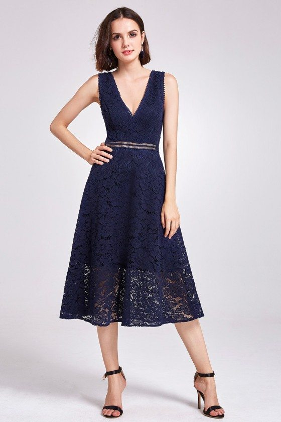 Dark Navy Elegant V-neck Tea Length Hollow Out Lace Prom Dress